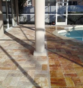 Before and after sealer on Travertine
