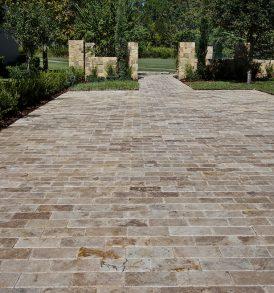 6×12 Roman Blend Brushed And Chiseled Travertine Paver