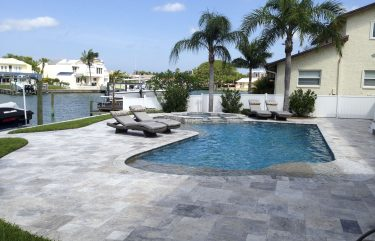 Silver Travertine Paver Pool Deck